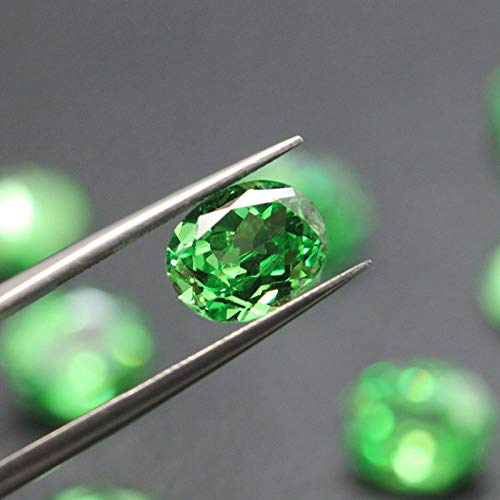 Calvas Oval Shape tsavorite Garnet Bright Green Created Gemstone Beads for Jewelry Making DIY Loose Stones for Inlay Ring Pendant - (Item Diameter: 7X9mm)