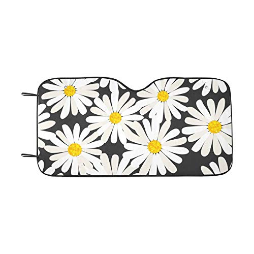 (INTERESTPRINT Tiny Daisies Car Windshield Sun Shades Universal Fit, Keep Your Vehicle Cool)