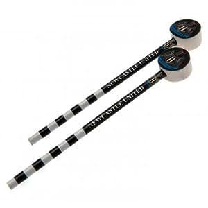Newcastle United F.C.–Juego de lápices (Pack de 2pencils- con erasers- Approx 19cm- en un blister pack–fútbol oficial mercancía