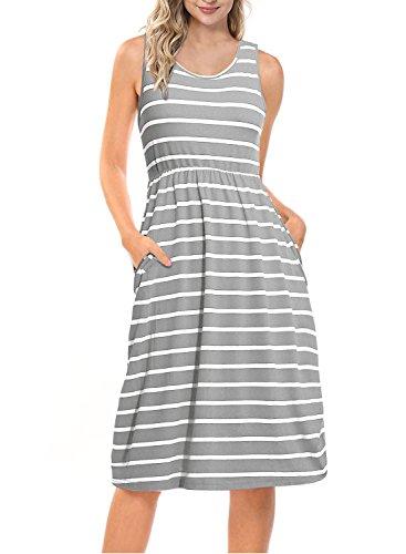 - Mulysaa Women's Summer Striped Sleeveless Tank Midi Dress with Pockets Grey M