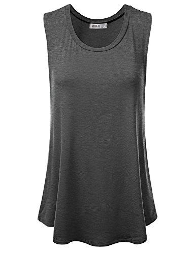 Doublju Women Comfort Color Loose T-Shirt Big Size CHARCOAL Casual Top,X-Large,XL