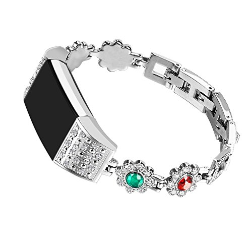 Ginamart Women Girls Jewelry Style Metal Replacement Watch Band Bling Rhinestone Stainless Steel Bracelet Wristband Strap for Fitbit Charge 2/Alta/Alta HR (Silver, Fitbit Charge 2)