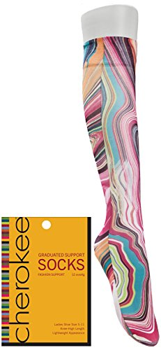 Footwear By Cherokee Women's Fashion 8-15 Mmhg Compression Sock Creamcicle -