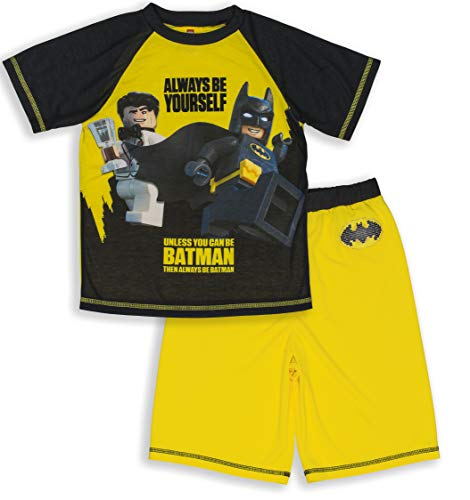 LEGO Batman Big Boys' Pajama, 2 Piece PJ Set, Sleeve,Short Pant, Black Yellow, 6/7