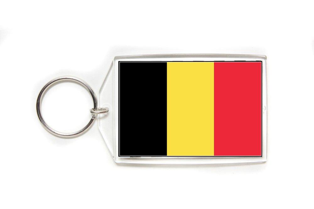 Belgium Belgian Flag Double Sided Acrylic Key Ring Large