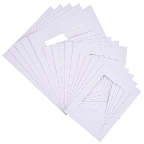 Bememo 15 Pieces White Multiple Size Picture Mats with Core Bevel Cut for Photo, 3 Size (8 x 10 Inch, 6 x 8 Inch and 5 x 7 Inch)