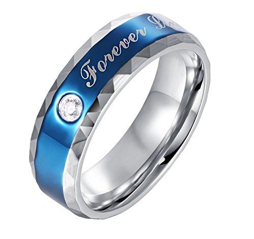 KasLin 6MM Titanium Cubic Zirconia Couple Ring Wedding Band for Men Blue (Ring Verragio Prices Engagement)