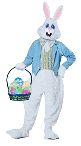 California Costumes Men's Deluxe Easter Bunny Costume, White/Blue, Small/Medium -