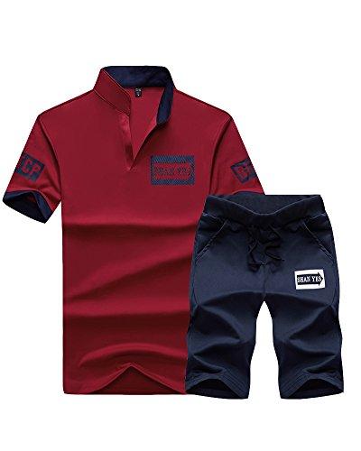 Shorts shirts pièces T Manches Survêtement Lâche Set Deux Courtes Jogging Hommes Rouge twqxURZw