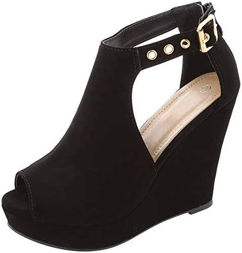 Cambridge Select Women's Peep Toe Side Cutout Buckled Ankle Strap Chunky Platform Wedge Ankle Bootie,5.5 B(M) US,Black Nbpu