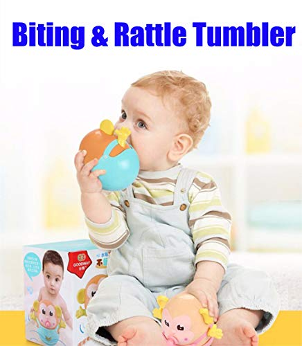 Baby Amphibious Tumbler Monkey,Rattle Toys Children Bath Toy,Chasing Game Early Crawling Educational Teether Music Ball Gift for Toddler Kids