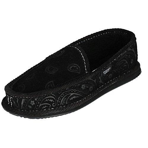 Trooper America Men's Black on Black Paisley Bandana Print House Shoe Slippers by Trooper America