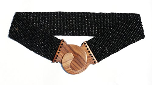 Shiny Black Hand-made Elastic Stretchy Beaded Bali Belt With Wooden Hook Buckle - 2 1/4