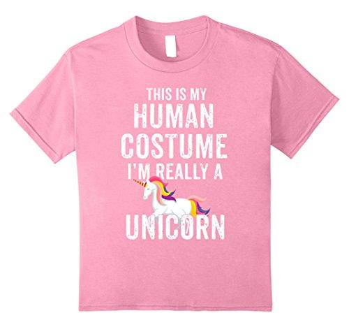 [Kids Unicorn Halloween Costume Shirt Humour Tee Girls Teens Women 8 Pink] (Halloween Costumes For Girl Teenagers)