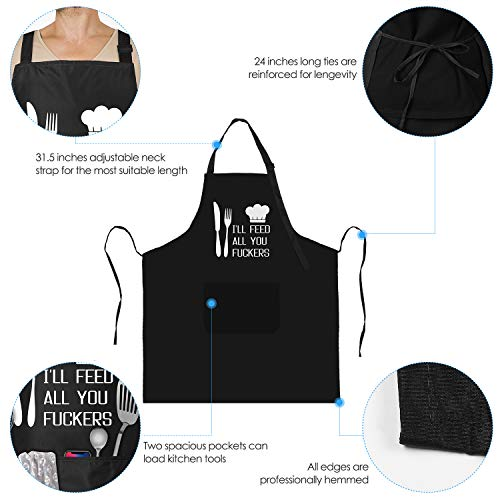 I'll Feed All You - Funny Apron for Men with 2 Pockets Adjustable Neck Strap 2