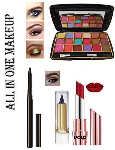 volo All In One Makeup Kit (1Pc Lipsticks,1 Eye Shadow,1 Eyeliner, 1 Kajal,) Set of 4 Pcs (Red)