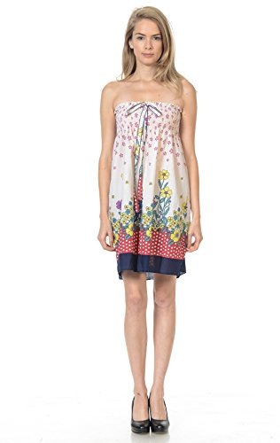 - Zoozie LA Women's Summer Sundress Polka Dot Navy Red Borders M