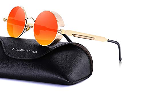 MERRY'S Gothic Steampunk Sunglasses for Women Men Round Lens Metal Frame S567(Red Mirror, 46)