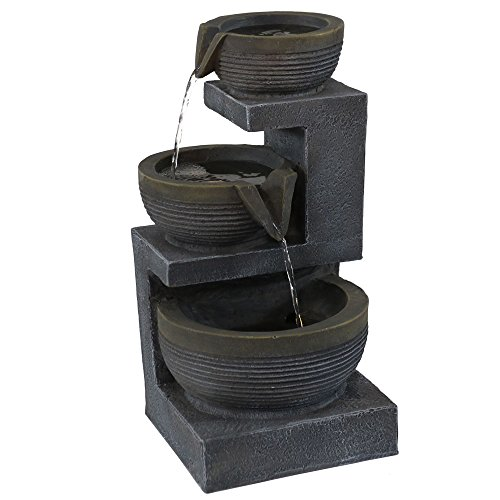 - Sunnydaze Three Tier Cascading Basins Tabletop Water Fountain with LED Light, 15 Inch