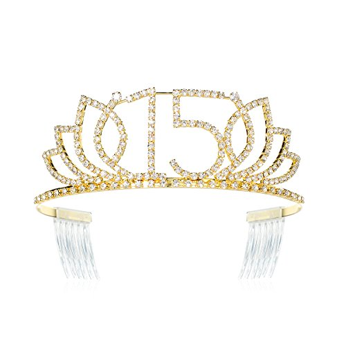 DcZeRong Princess Girls 15 Birthday Tiara Crown Quinceanera Tiara Crown Gold Crystal Diamond Tiara
