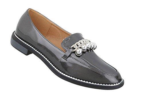 Schuhcity24 Damen Schuhe Slipper Grau Halbschuhe UHSqwzU