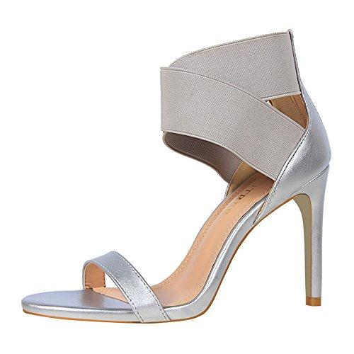 z&dw Elegantes tacones altos elásticos sandalias de goma cruzada de la venda Plata