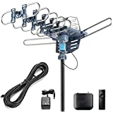 CeKay Digital TV Antenna Outdoor Antenna Amplified HDTV Antenna Motorized 360 Degree Rotation 150 Miles with 40FT RG6 Coax Cable Snap-On Installation - UHF/VHF/1080P