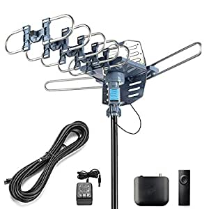 CeKay Digital Outdoor Amplified HD TV Antenna Motorized 360 Degree Rotation  150 Miles with 40FT RG6