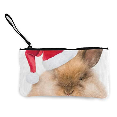 Rabbit with Red Santa's Hat Womens Canvas Coin Purse Mini Change Wallet Pouch-Card Holder Phone Wallet Storage Bag,Pencil Pen Case