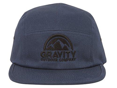 Gravity Outdoor Co. 5 Panel Hat - Navy - Black Logo