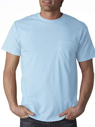Fruit of the Loom Men's 4-Pack Pocket Crew-Neck T-Shirt Light Blue Medium