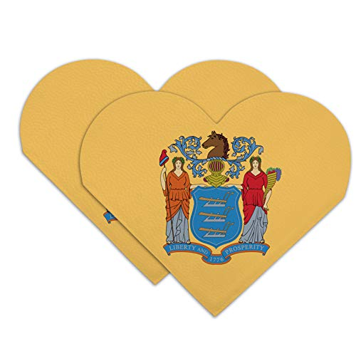 New Jersey State Flag Heart Faux Leather Bookmark - Set of 2