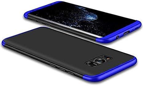 JMGoodstore Funda Samsung Galaxy S8,Carcasa Galaxy S8,Funda 360 Grados Integral para Ambas Caras+Cristal Templado,[360°] 3 in 1 Slim Fit Dactilares Protectora Skin Caso Carcasa Cover Azul+Negro