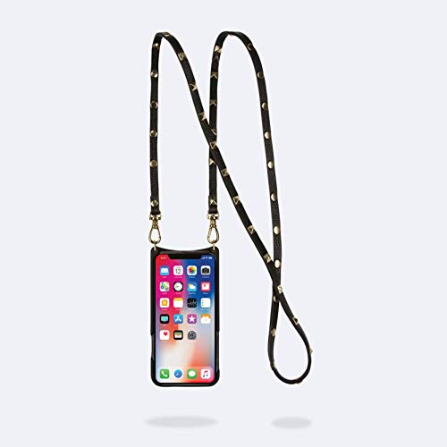 Bandolier Sarah Crossbody Phone Case and Wallet - Black Leather with Gold Detail - Compatible with iPhone 8 Plus, 7 Plus, 6 Plus, 6s Plus Only
