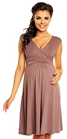 Zeta Ville Women's Maternity Breastfeeding Flattering Summer Skater Dress 256c(Cappuccino, US 6, S)