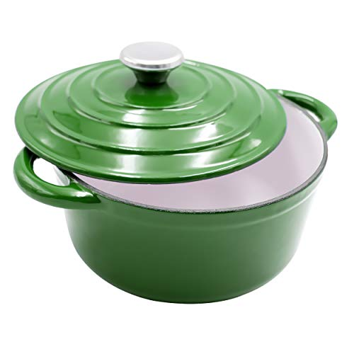 AIDEA Enameled Cast Iron Dutch Oven - 5-Quart Green Round Ceramic Coated Cookware French Oven with Self Basting Lid St.Patrick's Day for $<!--$58.69-->