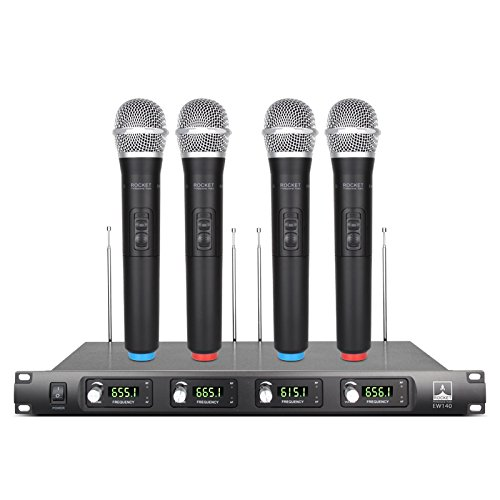 Quiet!!!!!Rocket Audio EW140 4 Channel Cordless Microphone System UHF Wireless Karaoke Microphone System 4 Mic se for Family Party, Church, Small Karaoke Night (Range:180-250Ft)