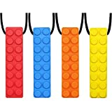 GNAWRISHING Sensory Chew Necklace Set (4-Pack) Made from Food Grade Silicone Safety for Kids Teething, Silicone Chewy Sticks for Autistic, ADHD,Oral Motor Boys and Girls Children