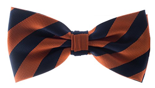 Man of Men - Bow Ties - Woven Striped Bowties (Orange & Navy Blue)