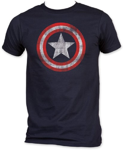 Marvel Captain America   Distressed Shield T Shirt Size M, Distressed ()