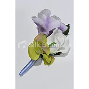 Gorgeous Artificial Purple Iris and Ivory Rose Buttonhole with Hydrangea 5