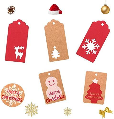 Etiquetas de Navidad,Etiquetas Papel Kraft Tarjetas Decorativas Etiquetas Regalo Etiquetas de regalo Navidad Papel Kraft Etiquetas Yute Twine String BETOY 200 pcs Etiquetas de regalo de Navidad