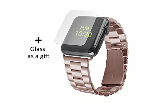 Bit-cord - Apple Watch Band 42mm + Adapter Series 3/Series 2/Series 1– Best Stainless Steel band for Apple Watch - for men and women – with temple glass for iWatch (Rose Gold)