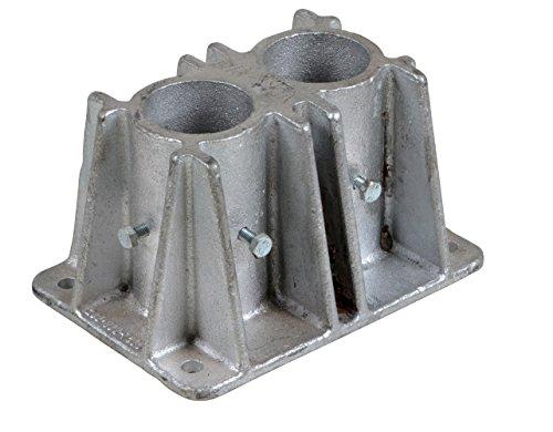 Vestil VDKR-P102 Double Socket for Pipe Safety Railings, 4 Bolt Holes, 4