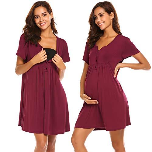 Ekouaer Maternity Nursing Gown for Hospital Breastfeeding Nightgown Sleepwear (Wine Red, Medium) (Gown Maternity Sleepwear)