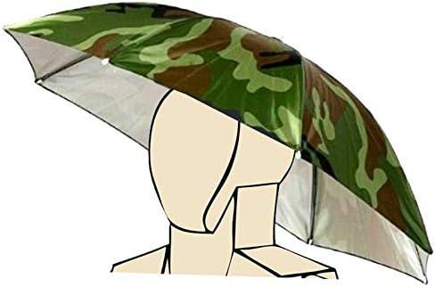 Diadema elástica Patrón de Camuflaje Sun Rain Umbrella Sombrero Cap para la Pesca Playa Golf Army Green Hand Libre Headwear Sombreado Jardinería Fotografía Walking Hat, Multi Coloreado Novedad por