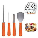 Professional Pumpkin Carving Tools Kit【Set of 4】Premium Heavy Duty Stainless Steel Knives for Easily Sculpt Halloween Jack-O-Lanterns with【Many Pumpkin Carved Stencils/Patterns/Templates】