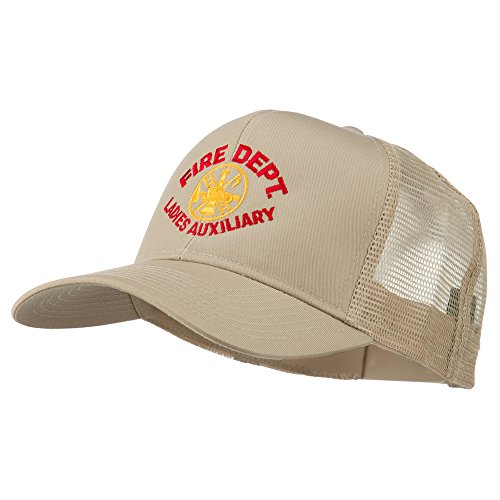 Fire Dept Ladies Auxiliary Embroidered Mesh Cap - Khaki OSFM (Dept Fire Embroidery)