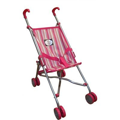 My First Umbrella Doll Stroller in Pink and White Stripes for Toddler - Cutest First Doll Stroller for -