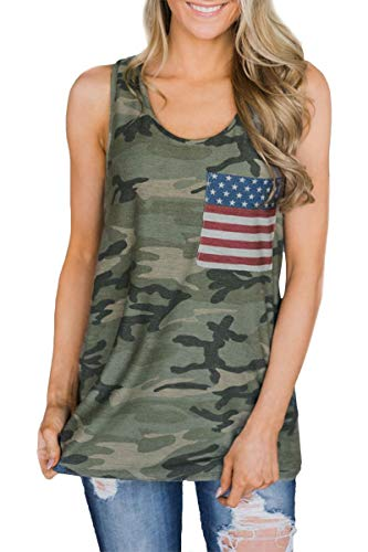 - July 4th Womens Summer Camo Printed Tank Tops Loose Fit Cotton USA Flag Sleeveless Shirt with Pocket XL